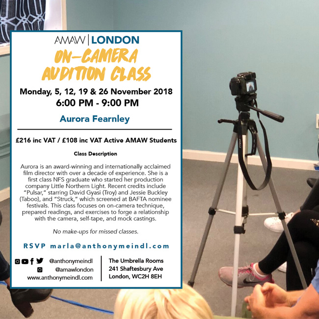On Camera Audition Class w/ Aurora Fearnley - AMAW London